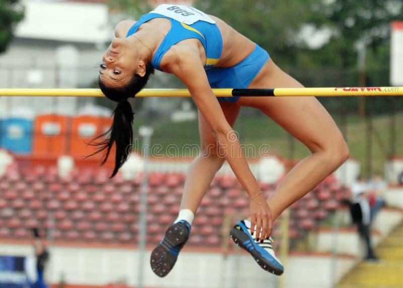 Wysokiego skoku kobiety atleta obraz stock