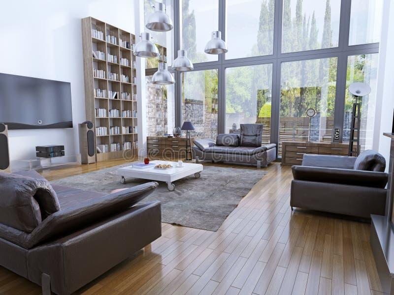 Wysokiego sufitu żywy pokój z panoramicznymi okno obraz royalty free