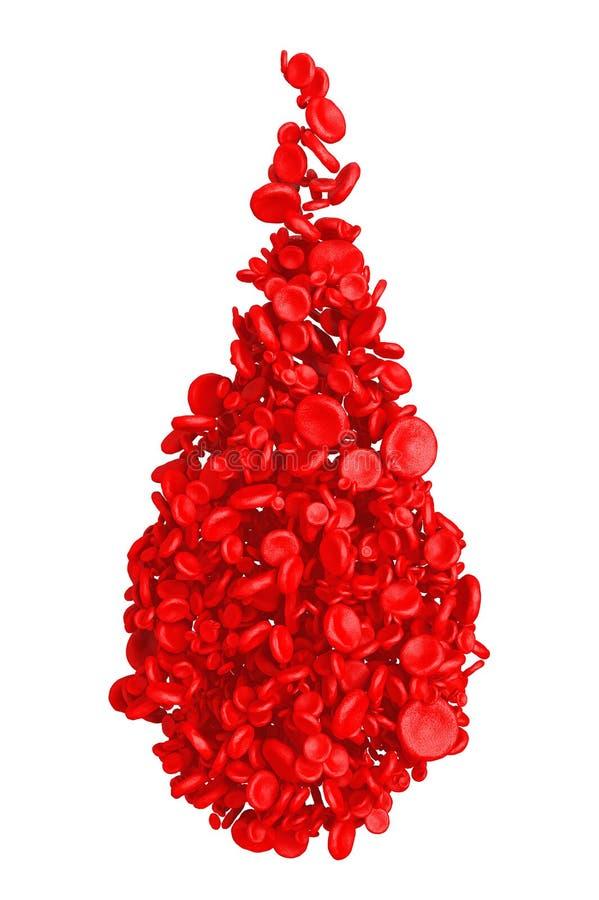 Wysokiego szczegółu Czerwone komórki krwi w kształcie krwi kropla świadczenia 3 d ilustracja wektor