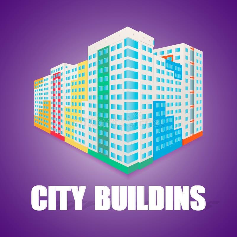 Wysokiego wzrosta kolorowy budynek przy perspectice Dom ilustracja wektor