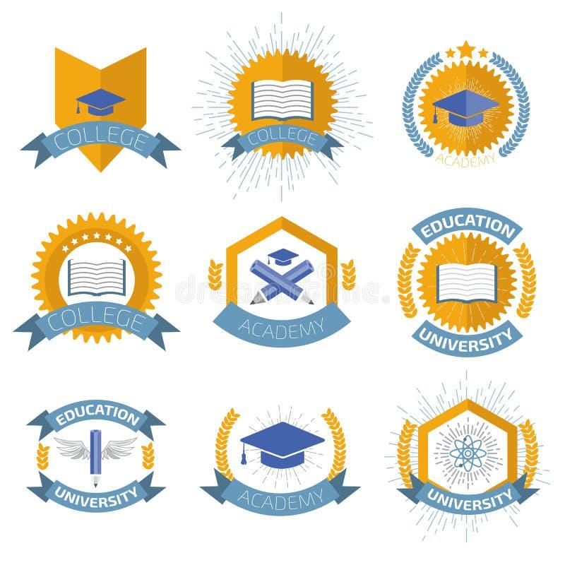 Wysokiej edukaci logowie ustawiający również zwrócić corel ilustracji wektora ilustracja wektor