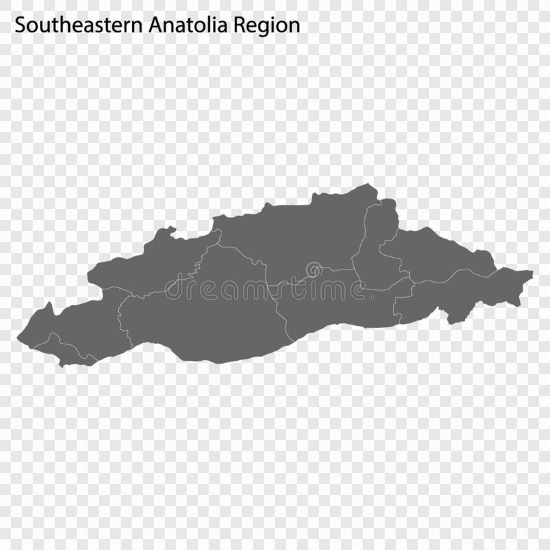 Wysokiej Jakości mapa jest regionem Turcja ilustracji