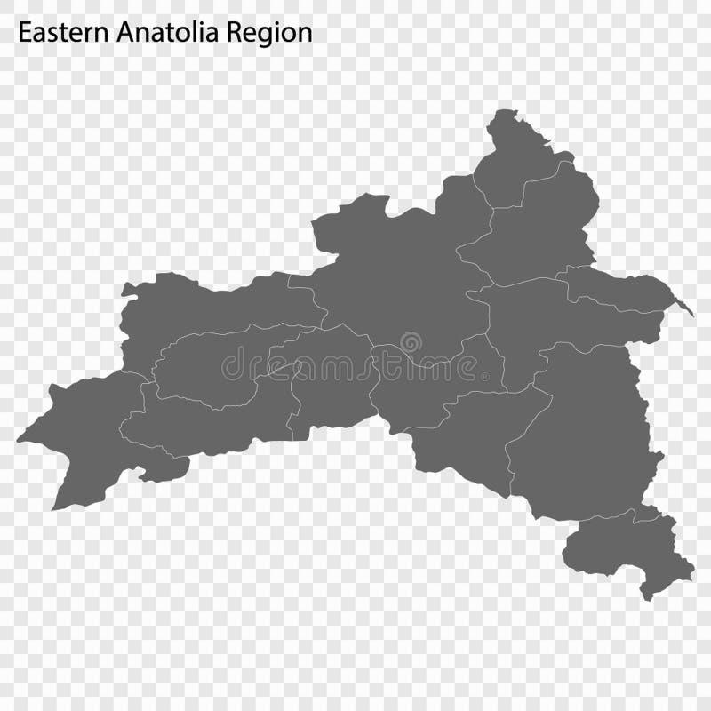 Wysokiej Jakości mapa jest regionem Turcja ilustracja wektor