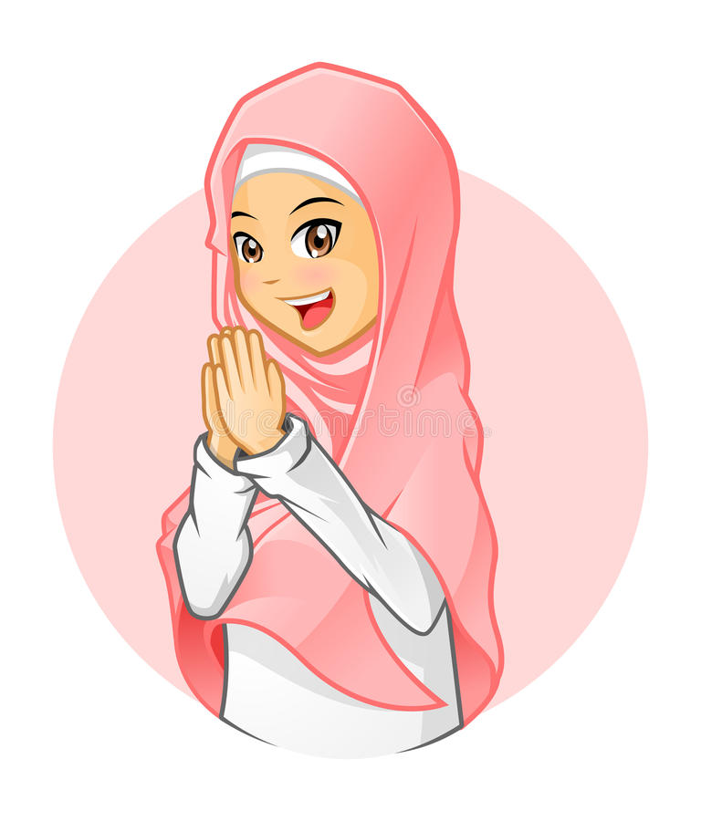 Wysokiej Jakości Muzułmańska dziewczyna Jest ubranym menchii przesłonę z Witać ręki ilustracja wektor