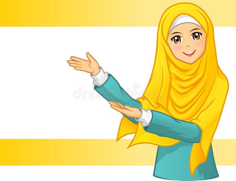 Wysokiej Jakości Muzułmańska kobieta Jest ubranym Żółtą przesłonę z Zaprasza ręki ilustracja wektor