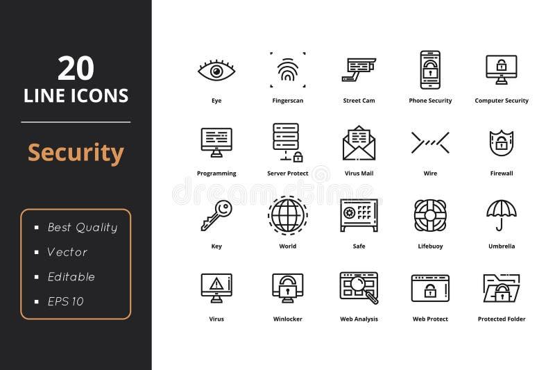 20 Wysokiej jakości ochrony linii ikon ilustracji