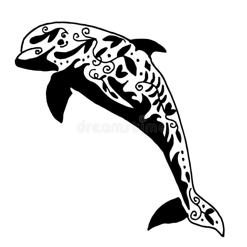 Wysokiej jakości oryginalny wektorowy delfinu tatuaż ilustracja wektor