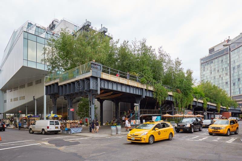 Wysokiej linii park z drzewami i roślinność widok w Nowy Jork obraz stock
