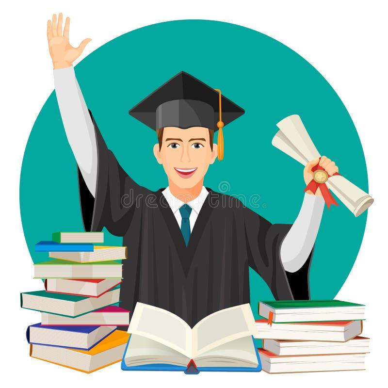 Wysokiej szkoły absolwent z dyplomem w rękach i stosach podręczniki ilustracji