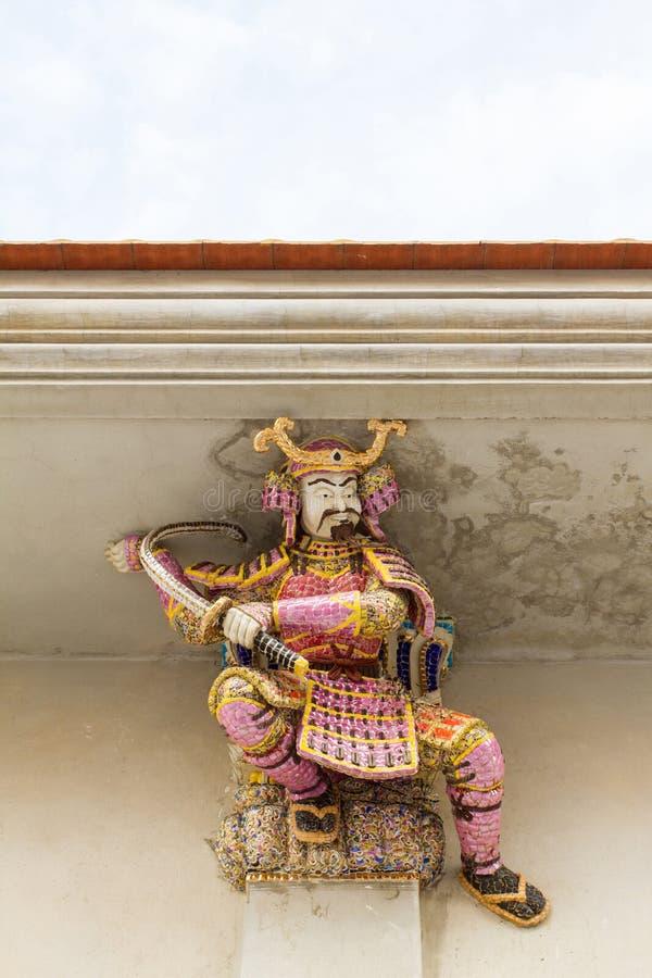 Wysokiej ulgi rzeźba samurajowie, Japoński wojownik, dekorujący wi fotografia stock