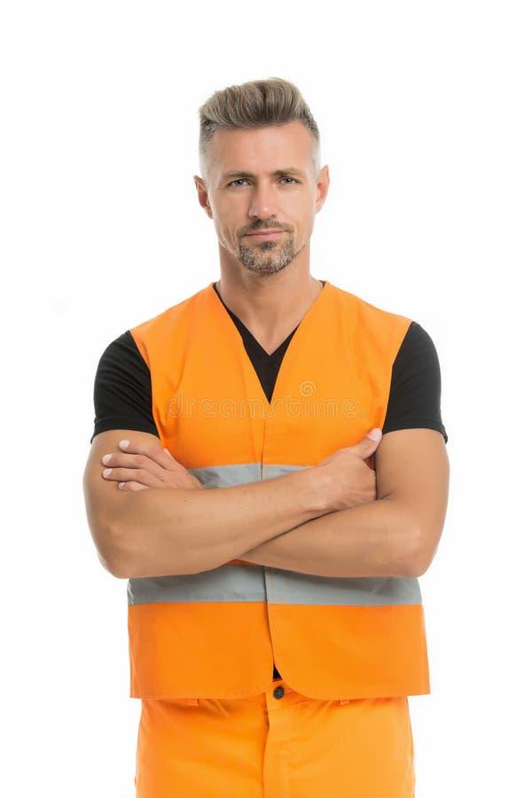Wysokiej widoczności kamizelki odbijający zbawczy bezpieczeństwo jest głównym punktem Mężczyzny pracownika ochronny jednolity bia obrazy royalty free