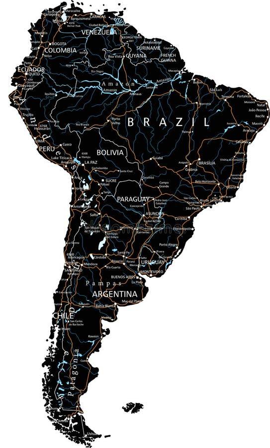 Wysokość wyszczególniał Ameryka Południowa mapę drogową z etykietowaniem - czerń ilustracji