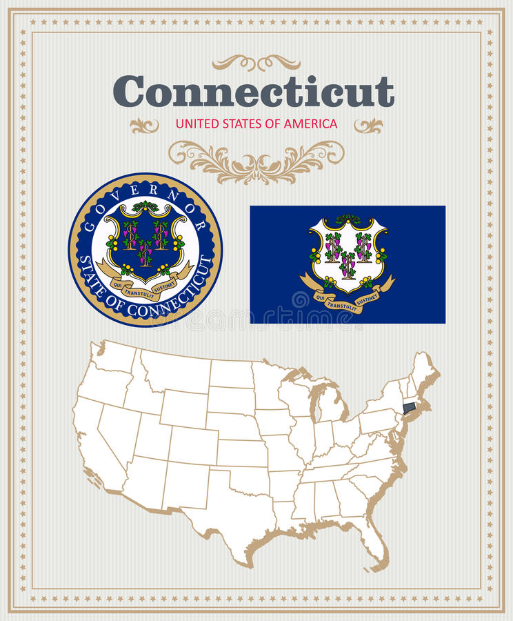 Wysokość wyszczególniał wektorowego ustawiającego z flaga, żakiet ręki Connecticut Amerykański plakat 2007 pozdrowienia karty szc ilustracja wektor