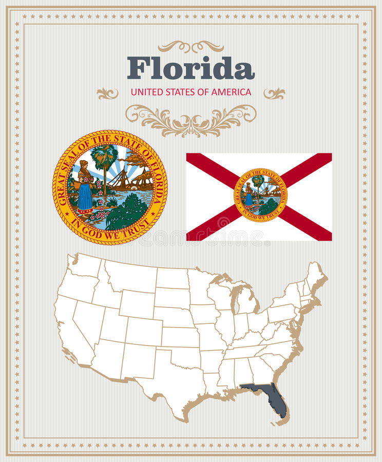 Wysokość wyszczególniał wektorowego ustawiającego z flaga, żakiet ręki, mapa Floryda Amerykański plakat 2007 pozdrowienia karty s ilustracji