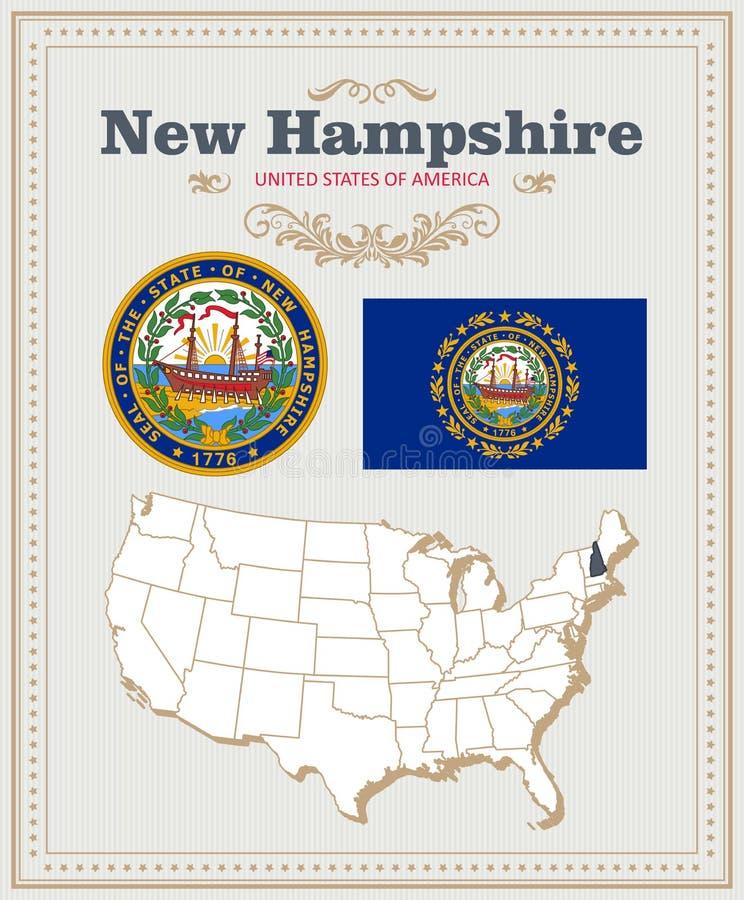 Wysokość wyszczególniał wektorowego ustawiającego z flaga, żakiet ręki, mapa New Hampshire Amerykański plakat 2007 pozdrowienia k ilustracji