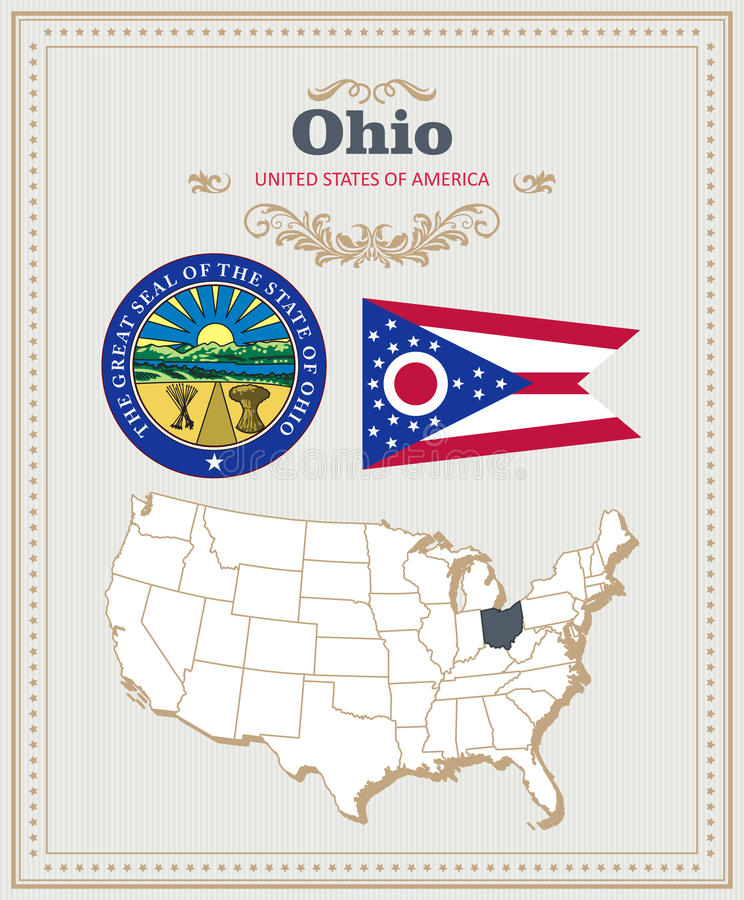 Wysokość wyszczególniał wektorowego ustawiającego z flaga, żakiet ręki, mapa Ohio Amerykański plakat 2007 pozdrowienia karty szcz royalty ilustracja