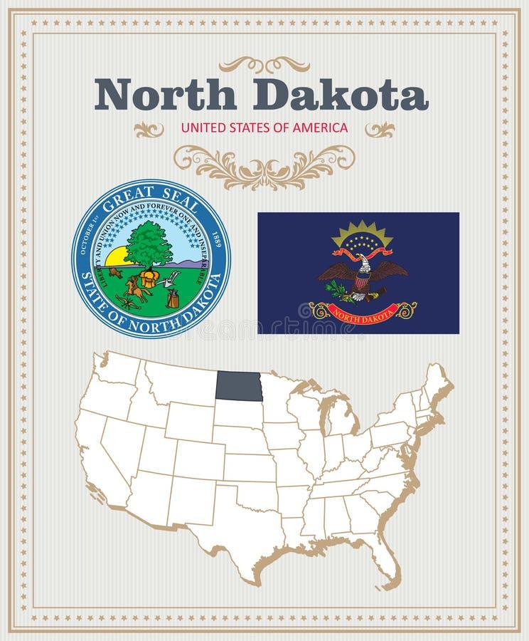 Wysokość wyszczególniał wektorowego ustawiającego z flaga, żakiet ręki północ Dakota Amerykański plakat 2007 pozdrowienia karty s ilustracja wektor