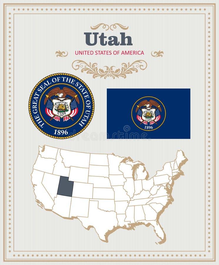 Wysokość wyszczególniał wektorowego ustawiającego z flaga, żakiet ręki Utah Amerykański plakat 2007 pozdrowienia karty szczęśliwy ilustracji