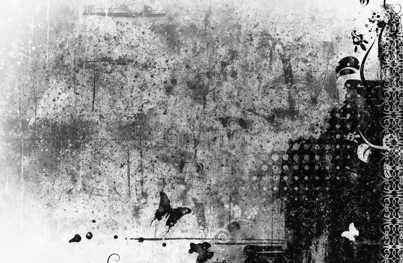 Wysokości szczegółowego grunge abstrakcjonistyczny kwiecisty tło royalty ilustracja