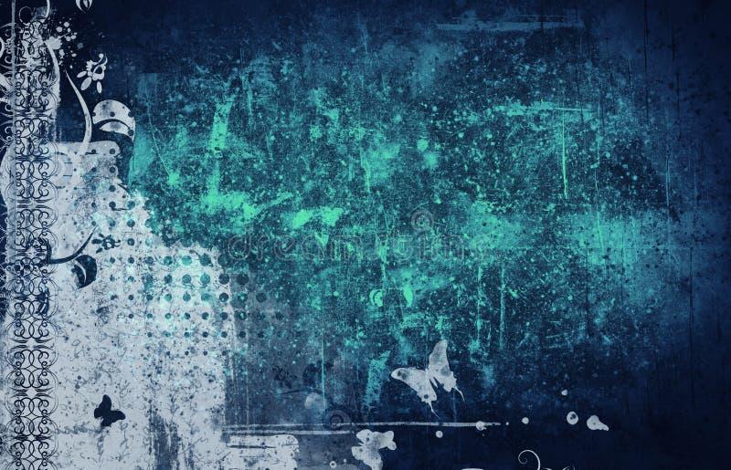 Wysokości szczegółowego grunge abstrakcjonistyczny kwiecisty tło ilustracji