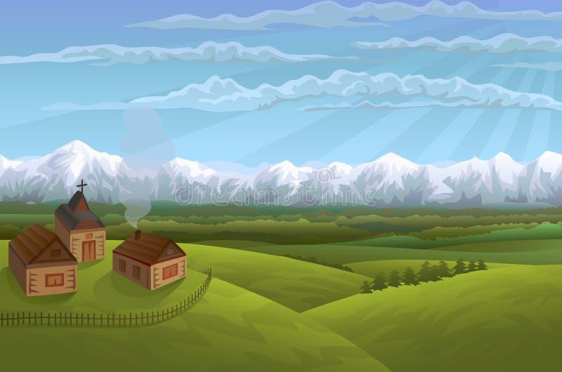 wysokogórska wioska ilustracja wektor