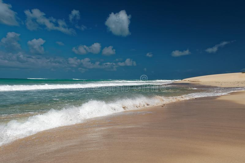 Wyspa boa Vista w przylądku Verde, krajobraz - nadmorski zdjęcia royalty free