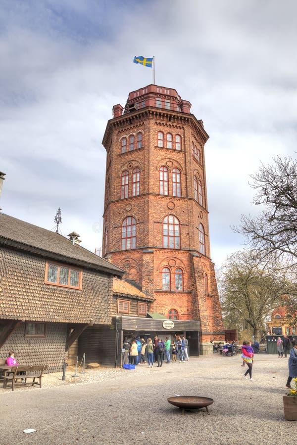 Wyspa Djurgarden, Sztokholm Skansenowski muzeum Wieża Ciśnień obraz royalty free