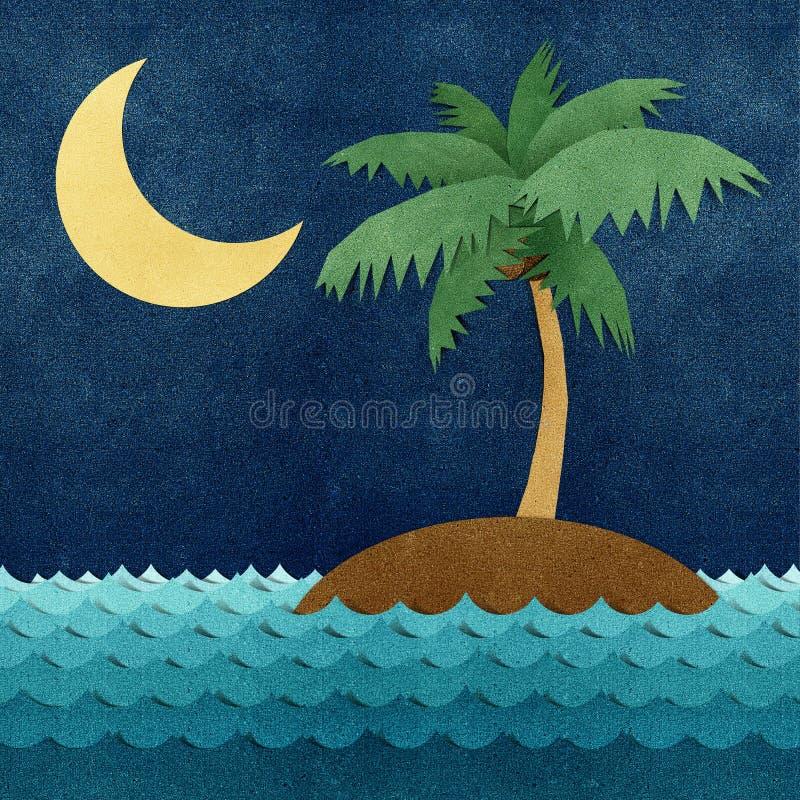 Wyspa i morze przetwarzający papierowy rzemiosło royalty ilustracja