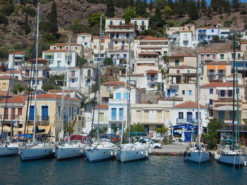 Wyspa jachty & domy zdjęcie stock
