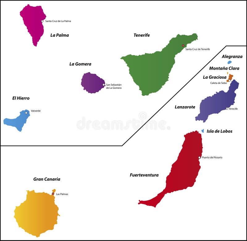 Wyspa Kanaryjska mapa royalty ilustracja