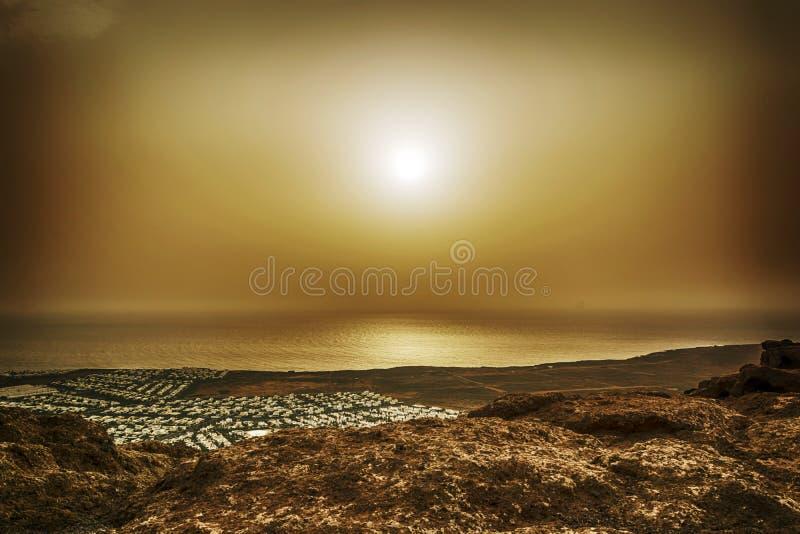 Wyspa Kanaryjska zmierzch - Lanzarote obraz royalty free