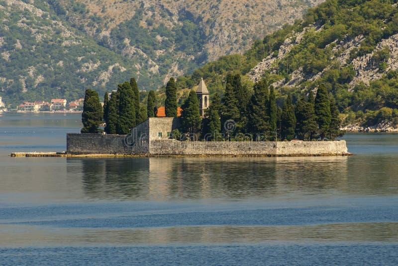 Wyspa kościół w perast kotor zatoce Montenegro zdjęcia royalty free