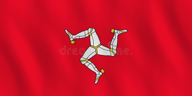 Wyspa mężczyzna flaga z falowanie skutkiem, oficjalna proporcja ilustracja wektor