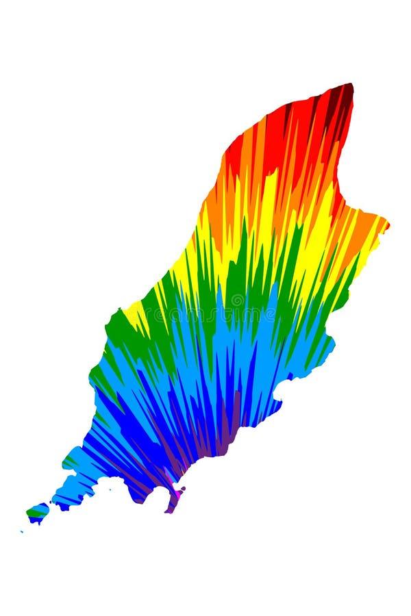 Wyspa mężczyzna - mapa jest projektującym tęczy abstrakcjonistycznym kolorowym wzorem, Mann mapa robić koloru wybuch ilustracji