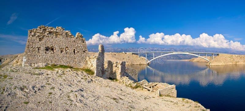 Wyspa Pag mosta panorama zdjęcia stock