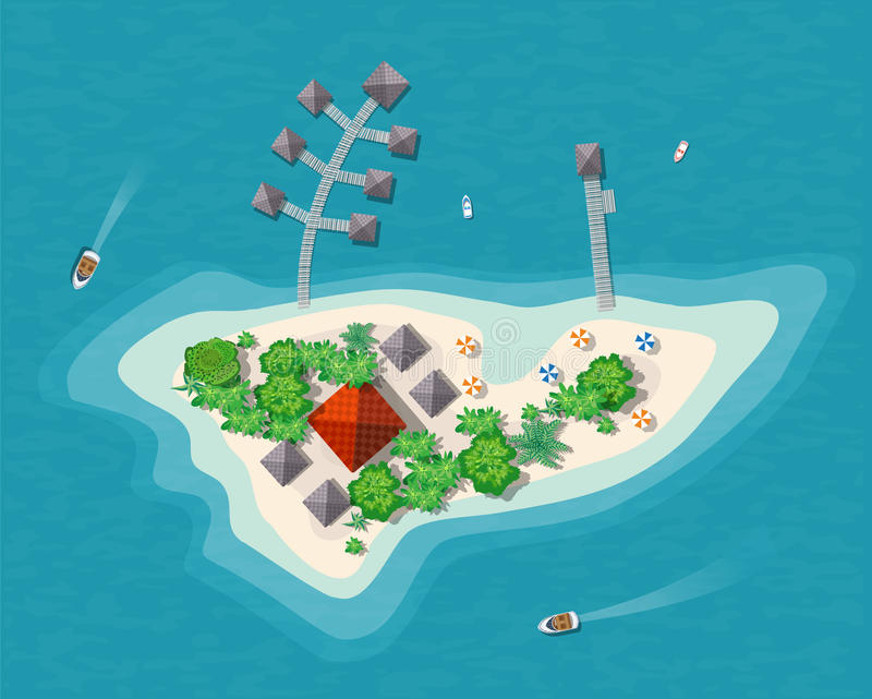 Wyspa raju widok ilustracja wektor