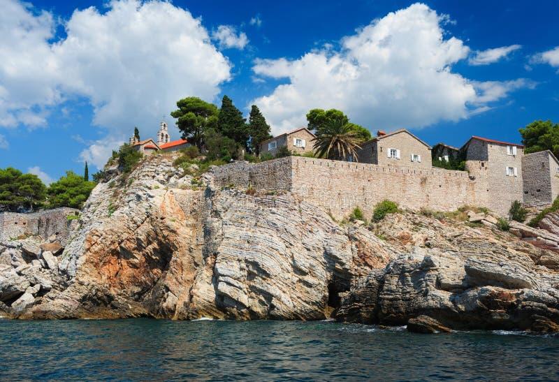 Wyspa Sveti Stefan, Montenegro, Bałkany, Adriatycki morze, Europ fotografia royalty free