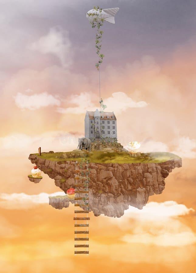 Wyspa w niebie illusoriness ilustracja wektor