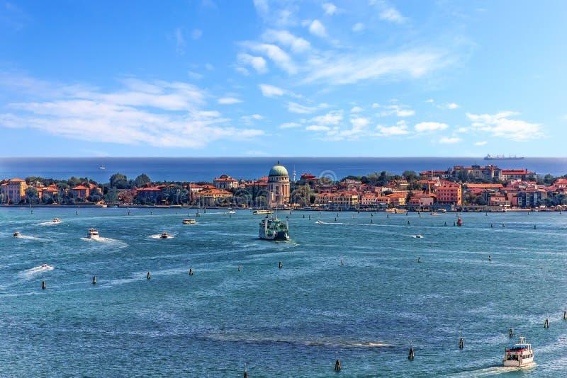 Wyspa w Weneckiej lagunie w Wenecja, widok z wierzchu piazza San Marco obrazy stock