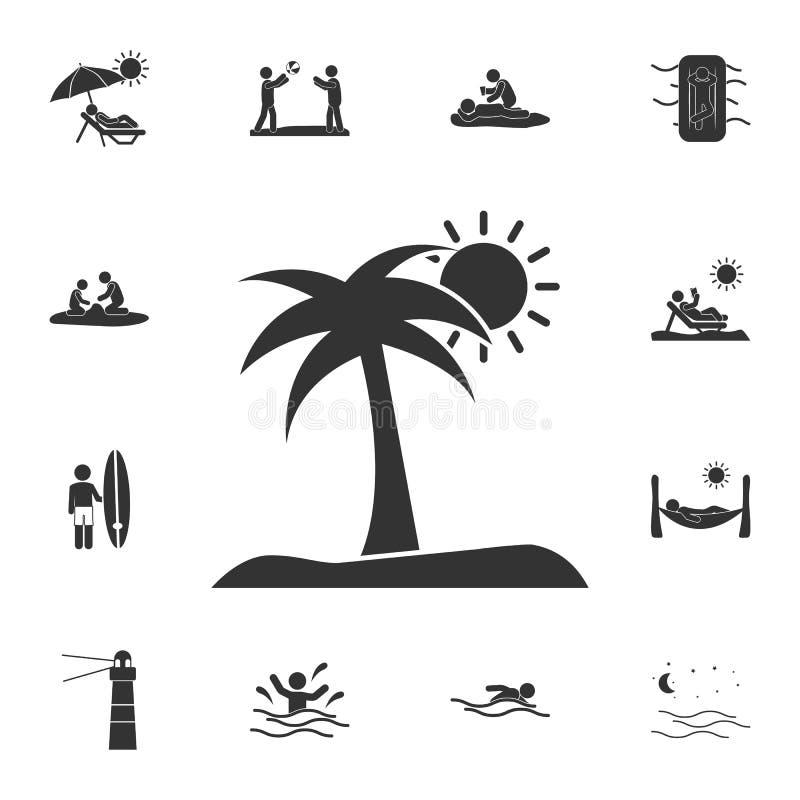 wyspa z drzewko palmowe ikoną Szczegółowy set lato ilustracje Premii ilości graficznego projekta ikona Jeden inkasowy ico royalty ilustracja