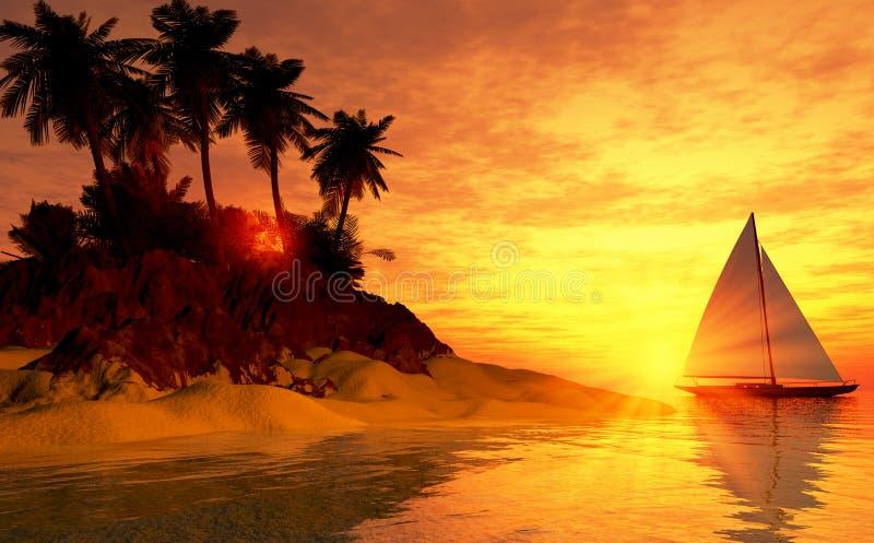 wyspy żaglówki zmierzch tropikalny ilustracja wektor