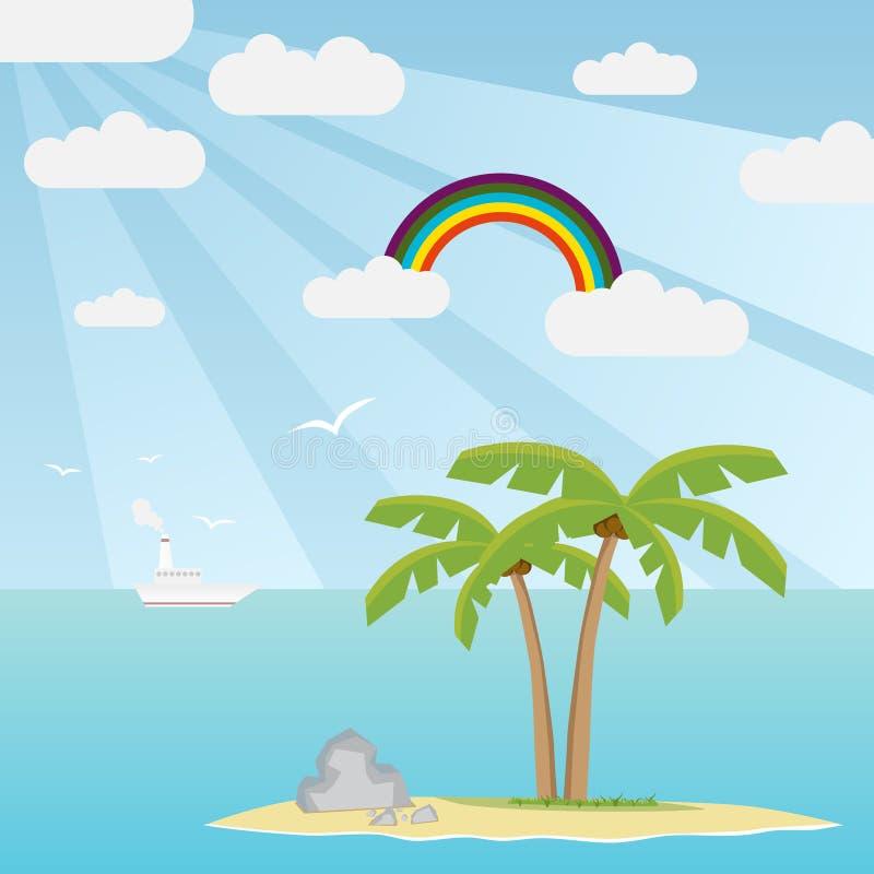 wyspy drzewo palmowy denny royalty ilustracja