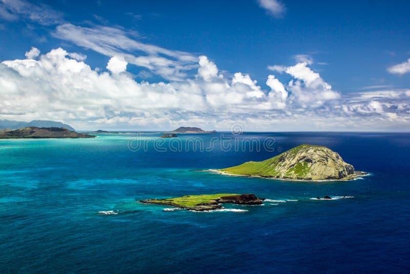 Wyspy Królika I Państwowy Sanktuarium Ptaków Na Wyspie Kaohikaipu, Jak Widziano W Makapu`u Point, Oahu, Hawajach zdjęcie royalty free