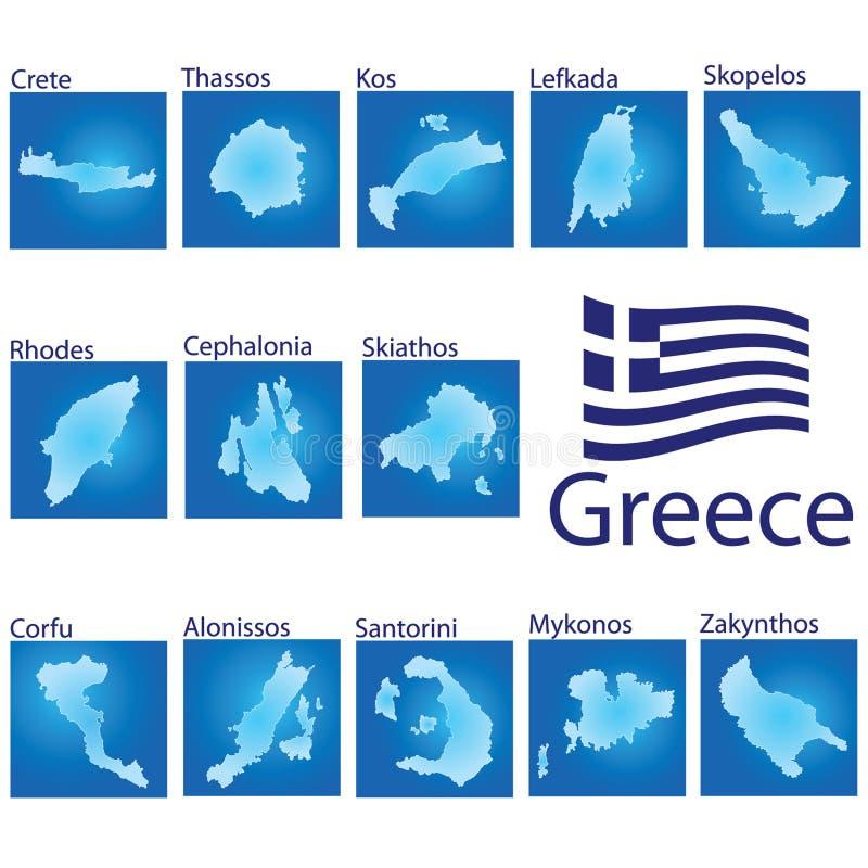 Wyspy mapa na Grecja wektoru ilustraci ilustracja wektor