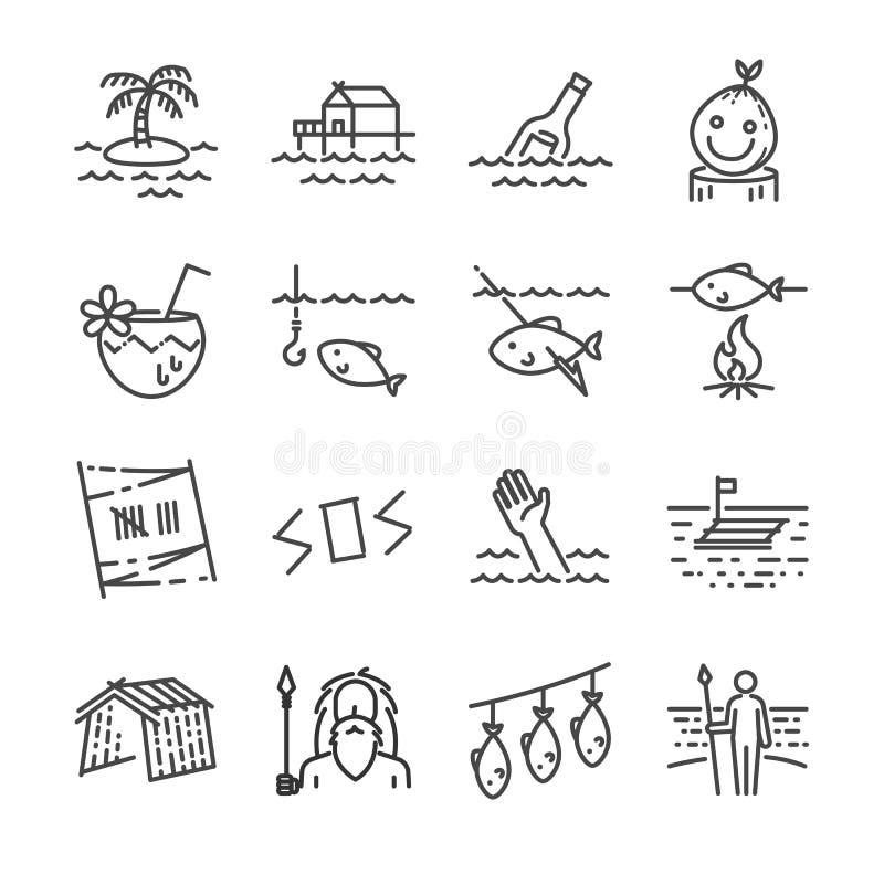Wyspy przetrwania linii ikony set ilustracja wektor