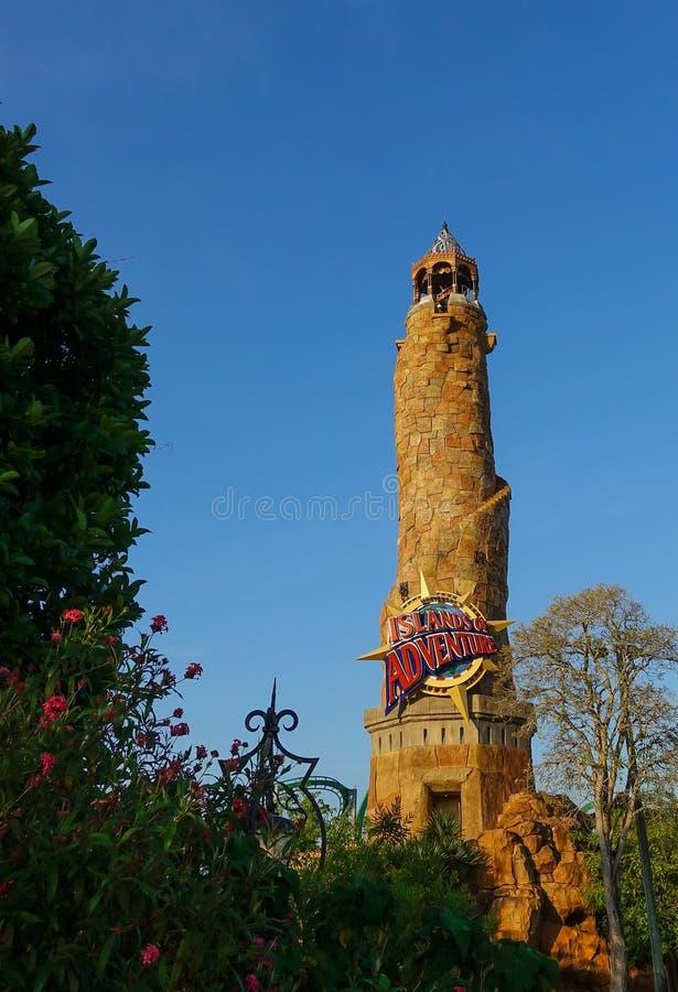 Wyspy przygody wejścia wierza w Universal Studios zdjęcia stock