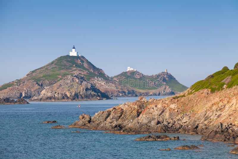 Wyspy Sanguinaires, mały archipelag, Corsica obrazy stock