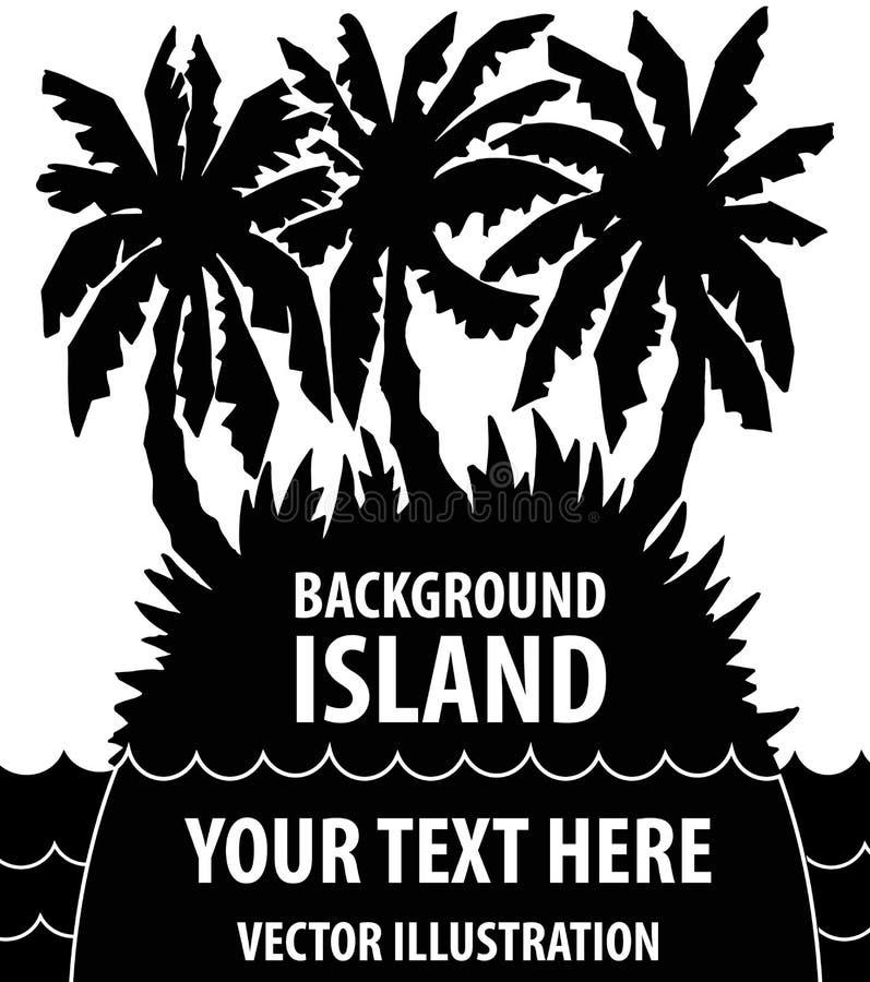 Wyspy tło Sylwetka wyspa z drzewkami palmowymi wektor ilustracja wektor