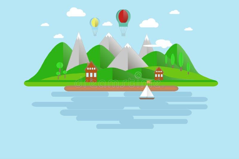 Wyspy, zieleni wzgórza, popielate góry z białymi szczytami, niebieskie nieba, woda, drzewa, balony, łódź żagle, dom, biel chmury, royalty ilustracja