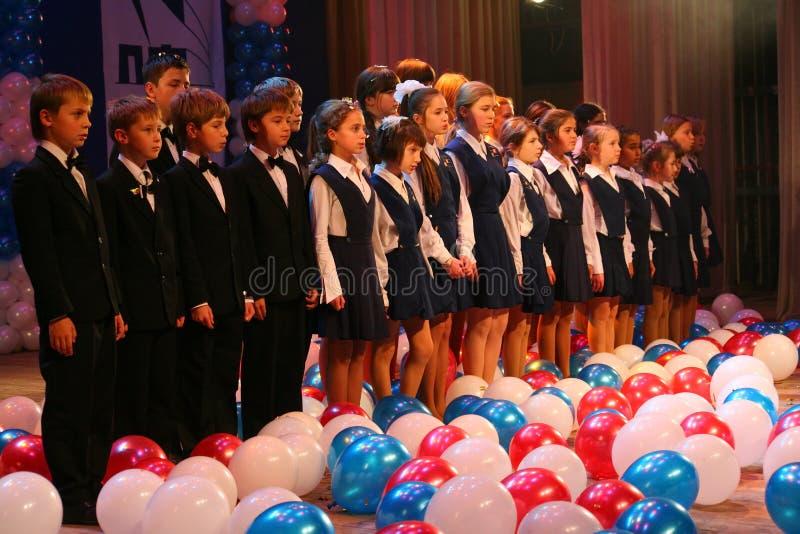 Występ wokalnie chór przy pałac kultura fotografia royalty free